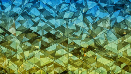 Triangulated multilayered glass shape. Futuristic polygonal surface. Modern background. Abstract 3D rendering Фото со стока