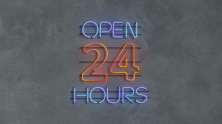 Open 24 hours neon light text on concrete wall. 3D render illustration Imagens