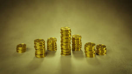 Stack of gold coins. Finance earning income concept. 3D render Stock Photo