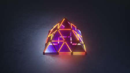 Illuminating pyramid. Abstract modern technology design. 3D rendering illustration