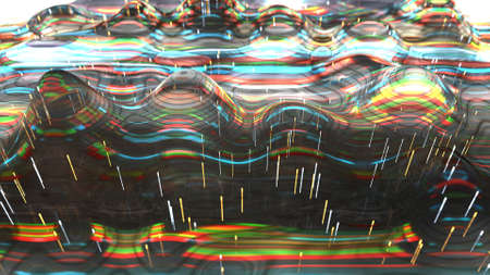 Electric wave with glitch effect texture. Signal failure concept. 3D render