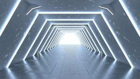 Modern corridor of spaceship. Abstract science fiction concept. 3D render