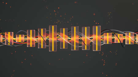 Audio equalizer. Computer generated abstract background. 3D render illustration Stock Illustration - 120719442