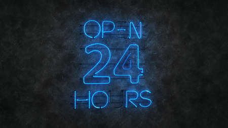 Glowing blue neon light sign open 24 hours. Blinking electric opensign on concrete wall. 3D rendering Imagens