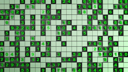 Green cubes and numbers. Abstract digital technology concept. 3D render