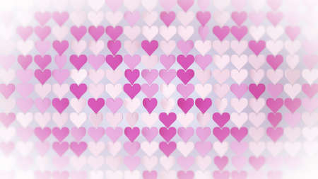 Pink hearts array. Abstract romantic concept. 3D render illustration Stock Photo
