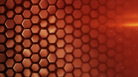 Red hexagon pattern. Abstract geometric background. Modern 3D rendering