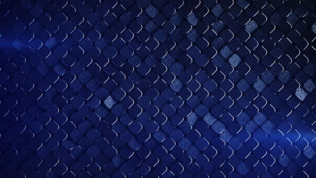 Rhombus pattern with grunge metallic blue surface. Abstract computer graphic. 3D render