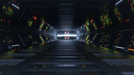 Futuristic tunnel with LED lights. Science fiction or space technologies design. 3D rendering with DOF