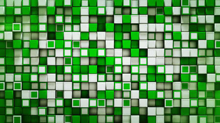 Wall of white and green boxes. Abstract geometric background. 3D rendering