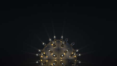 Steampunk ball with light bulbs. Abstract technology concept. Computer grnerated graphics. 3D rendering