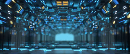 Futuristic technology tunnel with illuminating lamps. Science fiction spaceship interior. Abstract 3D render Stock Photo