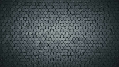 Abstract geometric background with grey hexagons. Computer generated abstract graphics. 3D render illustration Reklamní fotografie