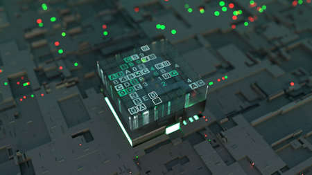 CPU is sorting data flow. Futuristic technology design. 3D rendering illustration with DOF Stock Photo