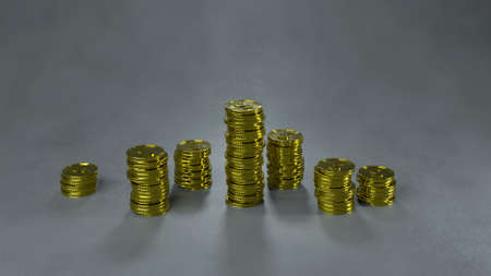Stacks of gold coins. Financial crisis concept. 3D render