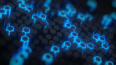 Futuristic blue honeycomb structure. Abstract computer graphics. 3D render with DOF