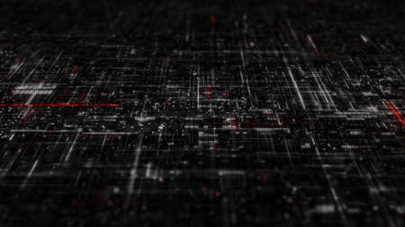 High detailed complex white and red technology grid. 3D render illustration with DOF