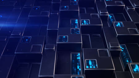 Sci-fi blue wall panel with digital data. Futuristic technology concept. 3D render with DOF Stock Photo