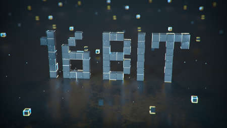 Pixelated text 16 bit on reflective floor. Retro videogame style design. 3D render illustration