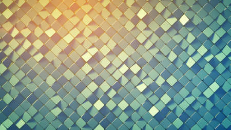 Rotated rhombus shapes. Abstract geometric background. 3D render Stock Photo