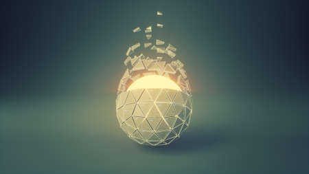 Sci-fi polygonal ball spinning. Abstract futuristic sci-fi or space technology concept. 3D render illustration with depth of field