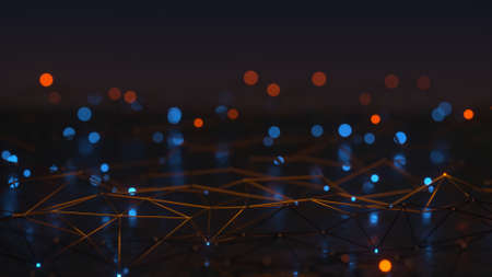 Wireframe shape of network with glowing nodes. Futuristic technologies or sci-fi concept. 3D render illustration with DOF Stock Photo