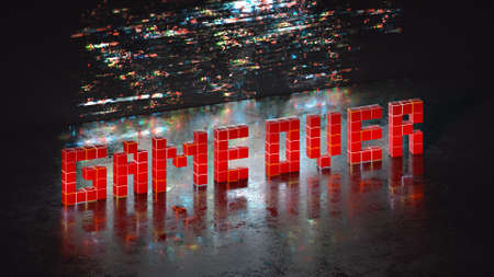 Game over phrase in pixel art 8 bit retro style with glitch effect. 3D render illustration