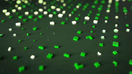 Abstract random green symbols. Futuristic sci-fi concept. 3D rendering with depth of field