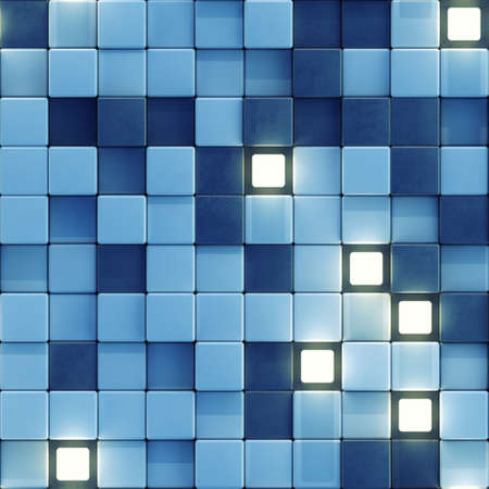 Seamless pattern of glowing white and blue tiles. Computer generated tileable background. Abstract 3D render Stock Photo