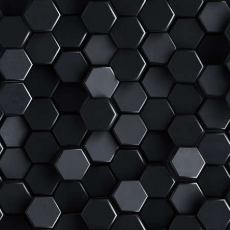 Seamless pattern of black concrete hexagons. Computer generated tileable background. Abstract 3D render