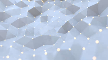 White polygonal space background with connected nodes and lines. Connection low poly structure. Science or futuristic technology background. 3D rendering illustration
