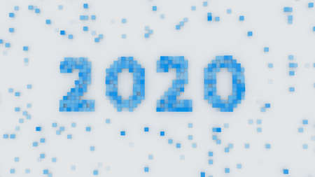 Blue text 2020 in pixel art. New year celebration. 3D rendering