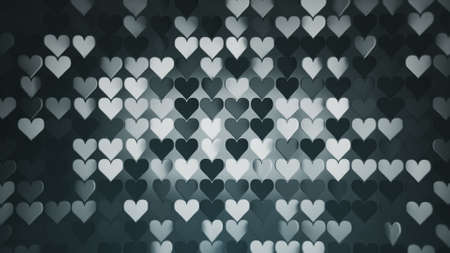 Array of dark gray heart shapes. Abstract romantic background. 3D rendering