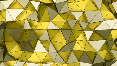 Low poly layered yellow surface. Abstract geometric background. 3D rendering illustration Фото со стока