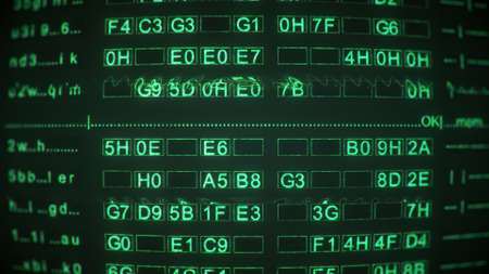 Green digital code on screen of vintage CRT monitor. Abstract information technology concept. Computer generated image