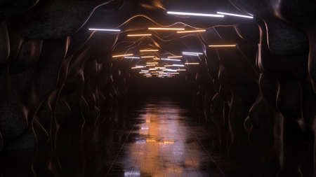 Deserted tunnel with blinking fluorescent lamps. Space exploration concept. 3D render illustration