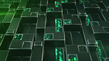 Futuristic technology green structure with digital code. Abstract wall of cubic shapes. 3D render with depth of field Foto de archivo - 127911654