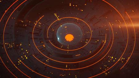 Orange futuristic technical construction. Science fiction mechanical concept. 3D rendering illustration with DOF Foto de archivo - 127911669