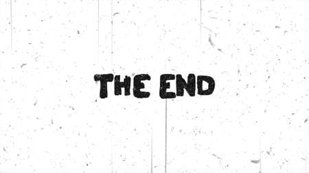 The end text grunge graphic on damaged film Stok Fotoğraf