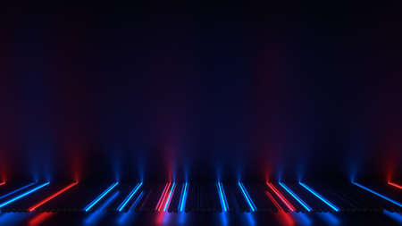 Red and blue glowing neon lights. Futuristic science fiction laser energy source. 3D rendering illustration Foto de archivo - 127911694