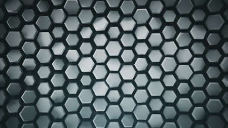 Abstract geometric grey background with hexagons. Computer generated abstract graphics. 3D render illustration Foto de archivo - 128177075
