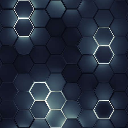 Seamless pattern of glowing hexagons. Computer generated tileable background. Abstract 3D render