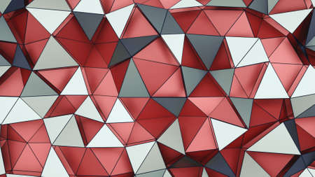 Low polygonal surface with red and gray triangles. Computer generated abstract background. 3D render illustration