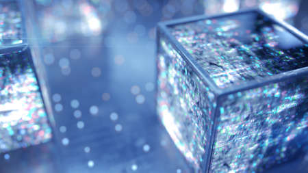 Cubes with glitching texture. Abstract futuristic technology design. 3D rendering with selective focus