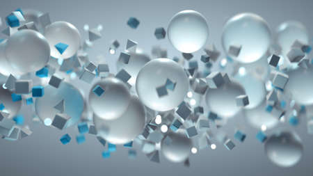 White and blue geometric shapes are are flying. Abstract computer graphics. 3D rendering illustration