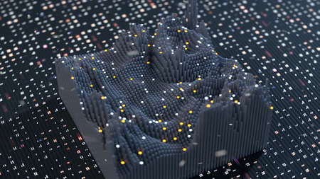 Wave function visualization. Science fiction or futuristic technology concept. 3D render illustration with depth of field