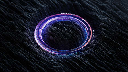 Three dimensional wave vibrations and purple glowing ring. Science fiction or futuristic technology concept. 3D render with depth of field