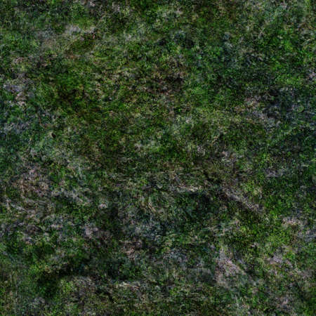 Seamless texture of rock with green moss. Abstract tileable background