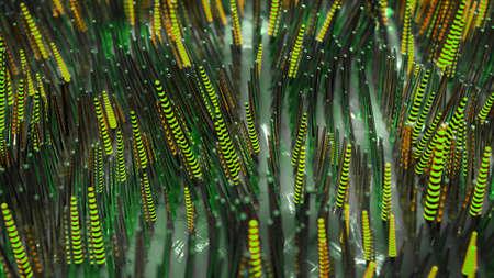 Waving green optical fiber tubes. Futuristic technologies or sci-fi design. 3D render illustration with depth of field Imagens - 131506176