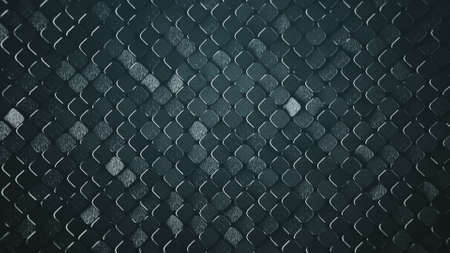 Rhombus pattern with grunge metallic surface. Abstract computer graphic. 3D render